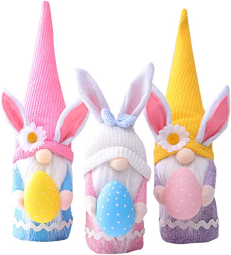 new arrival 3PC Easter Bunny Gnome Spring Gnomes Easter Holiday new arrival Home Decoration Gnome Plush Handmade Rabbit Swedish online sale Tomte Toy Collectible Figurine sale