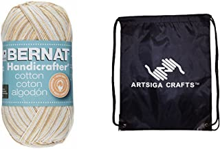 Bernat Knitting Yarn Handicrafter Cotton Ombres Queen Anne's Lace 1-Skein Factory Pack 162033-33614 Bundle with 1 Artsiga Crafts Project Bag