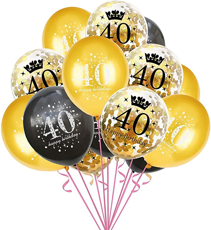 Pack of 6 Unique Party 83386 83386-12 Latex Glitz Black /& Silver 40th Birthday Balloons Age 40 Black