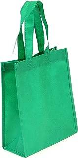 10 Pack Kelly Green Reusable Tote Bags, Heavy Duty Non-woven Polypropylene, Small Gift Tote Bag, Book Bag, Non Woven Bag Multipurpose Art Craft Screen Print School Bag (Kelly Green, Set of 10)