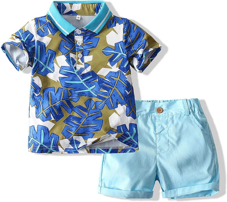 Jizyo Little Boys Short Sleeve Botton Down Shirt and Shorts Summer Outfits Children Casual Daily Holiday Beach Sets