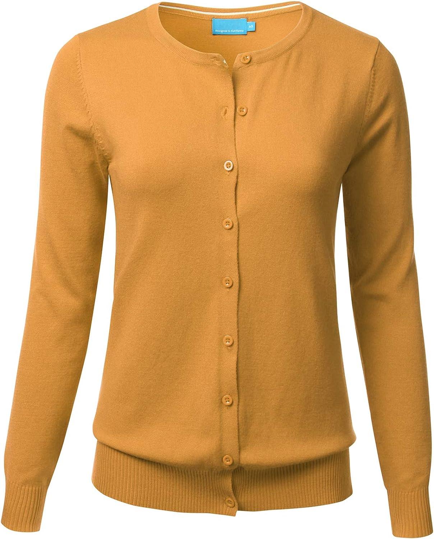 FLORIA Women's Button Down Crew Neck Long Sleeve Soft Knit Cardigan Sweater Mustard M