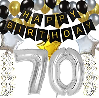 KUNGYO Classy 70TH Birthday Party Decorations Kit-Black Happy Brithday Banner,Silver 70 Mylar Foil Balloon, Star, Latex Balloon,Hanging Swirls, Perfect Seventy Years Old Party Supplie