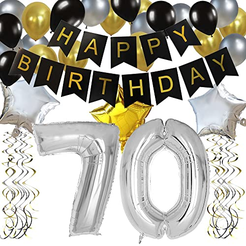 KUNGYO Classy 70TH Birthday Party Decorations Kit Black Happy Brithday BannerSilver 70 Mylar