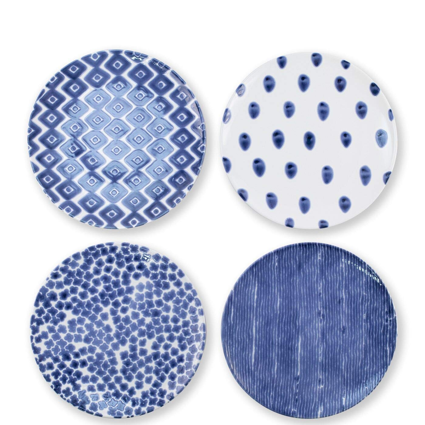 Vietri Viva Santorini Assorted Dinner Plates Set Of 4 Kitchen Dining