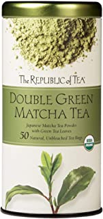 The Republic of Tea 100% Organic Double Green Matcha Tea Bags (40051) - Green Tea and Organic Stone-Ground Japanese Tencha Leaves - Matcha Tea Powder with Green Tea - 50 Natural Unbleached Tea Bags