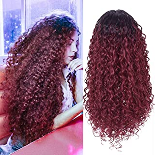 Annivia Ombre Wine Red Deep Curly Long Lace Front Wigs for Black White Women 180 density Glueless Heat Resist Quality Full Hair Synthetic Burgundy Curly Wig 22inch (TT1B/530)