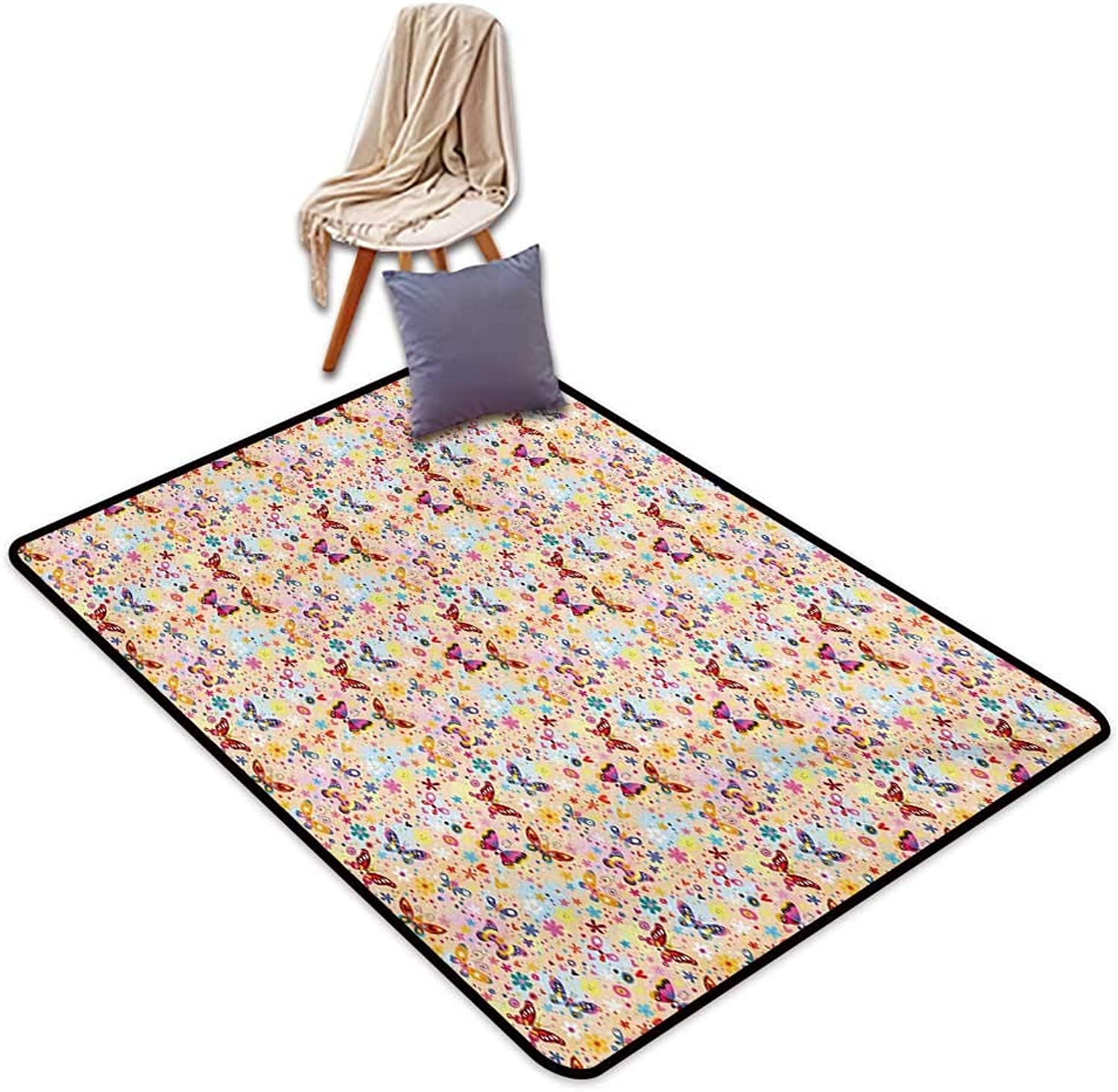 Baby Large Outdoor Indoor Rubber Doormat Cute Butterflies Girlish Kids Playroom Flowers Princess Baby Nursery Cartoon Theme Water Absorption, Anti-Skid and Oil Proof 55  Wx63 L Multicolor