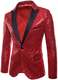 HX fashion Men's Shiny Sequins Suit Multi and Color Size of Comfortable Sizes Men's Pretty Jackets Blazer for Nightclub We...