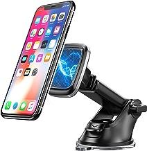 Bovon Support Téléphone Voiture, [Montage Stable] 360° Rotation Porte Téléphone Voiture Magnétique sur Tableau de Bord/Pare-Brise, Support Voiture Aimant avec Ventouse Collante & Bras Extensible