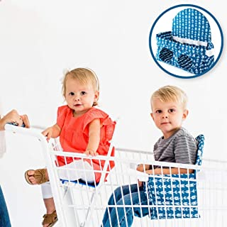 Buggy Bench The Original Shopping Cart Seat Carrier (Navy Blue) for Baby, Toddler, Twins, and Triplets (Up to 40 Pounds)