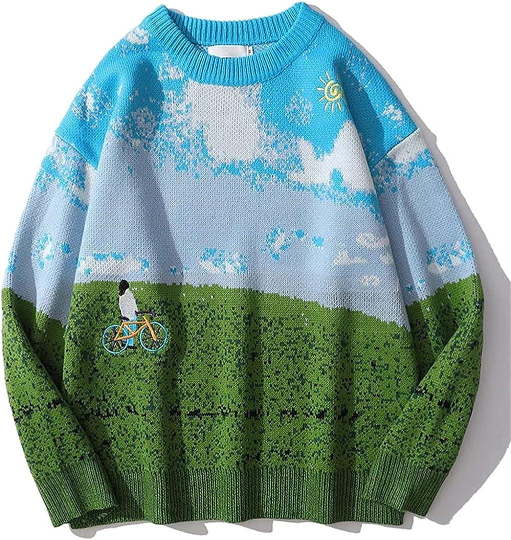 Kteret Men Hip Hop Grassland Sweater Oversized Knitting Pullover Japanese College Sweater