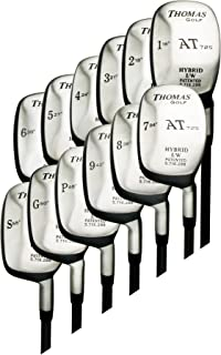 8-Club Hybrid Set (#3,4,5,6,7,8,9,PW all TRUE Hybrids) - Senior Flex Graphite Shaft - Right Handed - Square Head - With Head Covers - Utility Rescue Clubs - by THOMAS GOLF