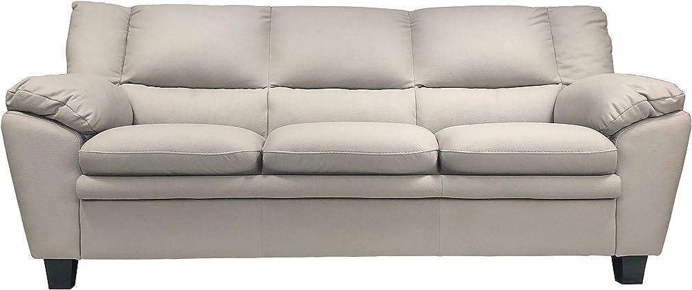 Totò piccinni, divano tre posti, in similpelle effetto nabuk, imbottito con braccioli, beige