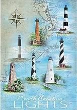 Cutadornsly North Carolina Lights Map and Iconic Lighthouses 18 x 13 Rectangular Screenprint Small Garden Flag