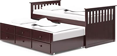Storkcraft Marco Island Captain S Bed With Trundle Bed And Drawers Twin Espresso Twin Sized Mattress Bunk Bed Alternative Great For Sleepovers Underbed Storage Organization Amazon Ca Home