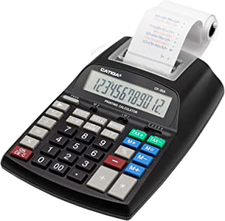 $39 » Commercial Printing Calculator with 12 Digit LCD Display Screen, 2.03 Lines/sec, Two Color Printing, AC Adapter Included (...