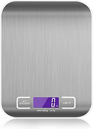 Digital Kitchen Scale Multifunction Food Scale, 11 lb 5 kg, Silver, Stainless Steel (Batteries Included) (White)
