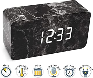 Xianan LED Alarm Clock with Dual Power Multi-Function 3 Intelligent Alarms Voice Control Screen and 3 Modes (Marble Black)