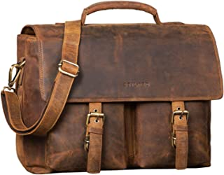 """STILORD Jeff"""" Aktentasche Leder 15 Zoll Vintage Business Umhängetasche für Große DIN A4 Ordner Herren Bürotasche mit Zweifachteilung, Farbe:mittel - braun"""