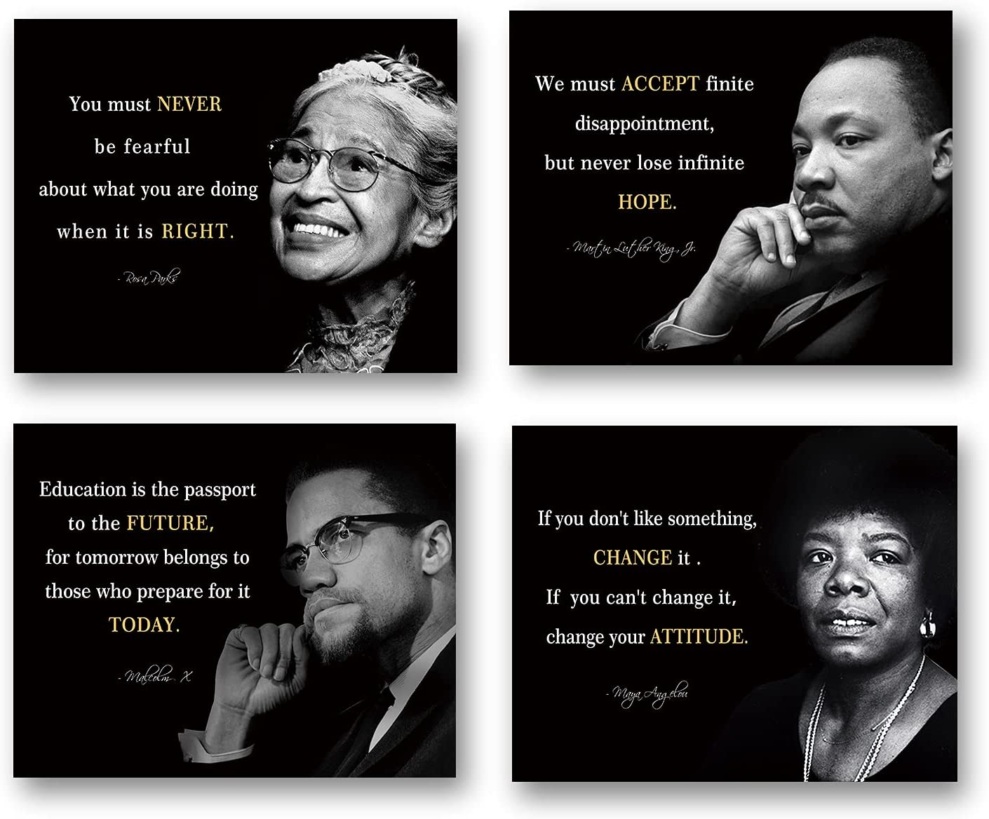 Inspiring collection of famous quotes (4 inspiring collections of famous quotes), including Martin Luther King posters, Rosa Parker, Malcolm X posters and Maya Angelou art paintings