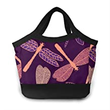 FANTASY SPACE Lunchbox Purple Dragonfly Food Container Organizer for Men & Women Boys & Girls, Work/School/Meal Prep Lunch Holder Premium Handbag Reusable Drinks Holder