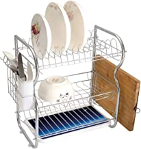 Stainless Steel 3-Tier Dish Drainer Rack Night Kitchen Drying Drip Tray Cutlery Holder Moon and Stars over Santa Barbara Channel Infinity Foggy Pacific Ocean Decorative,Dark Blue Sky Blue White,Storag