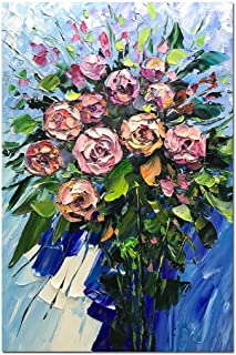 Fasdi-ART Oil Painting Pink Rose Flower 3D Hand-Painted On Canvas Abstract Artwork Art Wood Inside Framed Hanging Wall Decoration Abstract Painting (DF034, 24x36inch)