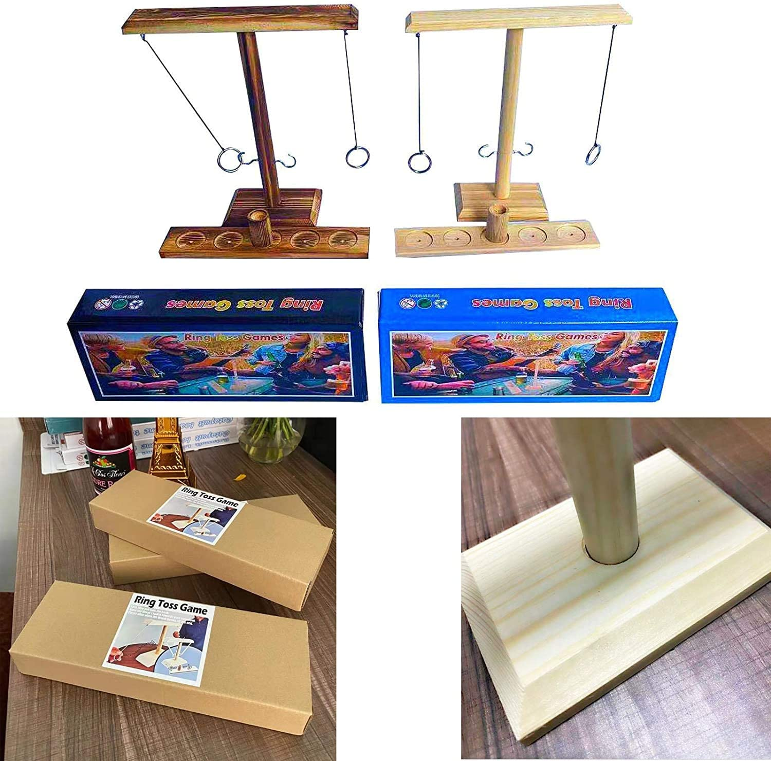 Beige Deluxe Handmade Wooden Throwing Game Handheld Games w// Shot Ladder Bundle Fast-paced Interactive Game Toys for Home Travel Bars Drinking Craggy Games Toys Ring Toss Game