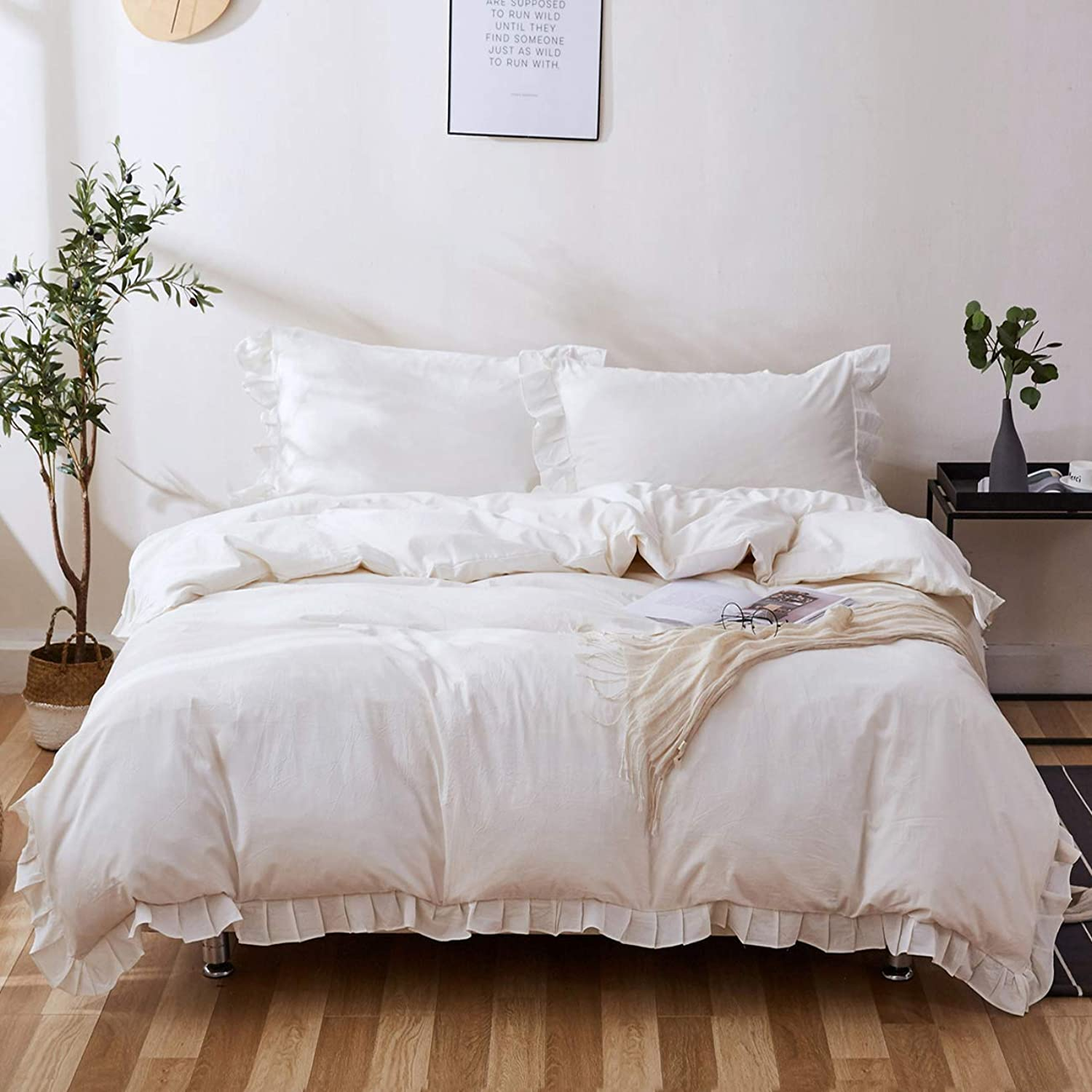 ZYEN Ruffles Duvet Cover Twin Set White Soft 100% Washed Cotton Duvet Cover Set Kids Teens Adult Wrinkle Look Frilled Duvet Cover with Zipper Closure (Twin, White)
