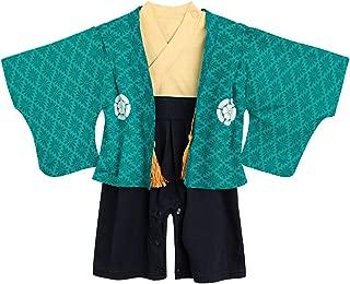 BECOS 男の子 袴風 ロンパース カバーオール 端午 初節句 (ターコイズ, 70)