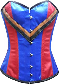 Red Blue Satin Leather Gothic Steampunk Waist Training Bustier Overbust Corset