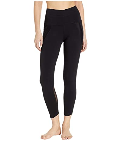 Hard Tail Crossover Waist Duo Pocket 7/8 Leggings (Black) Women