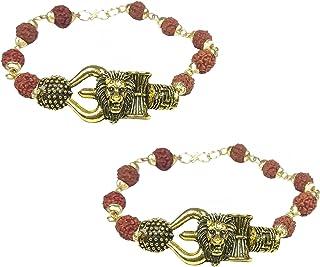 Utkarsh (Set Of 2 Pcs) Unisex Adjustable Rudraksha Brown Beads Mala Chain Animal King Roaring Lion Head Om Mahadev Bolenat...