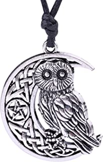 Lemegeton Ancient Cresent Moon Pentagram Celtic Knot &Goddness Symbol Owl Charm Necklace for Gifts (silver tone)
