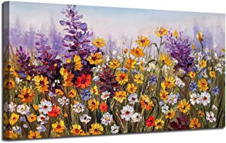 Canvas Wall Art Daisy Colorful Bloosom Flowers Artwork Painting Prints Modern Landscape Picture Framed Ready to Hang for Living Room Bedroom Kitchen Office Home Decorations-48 x24 One Panel