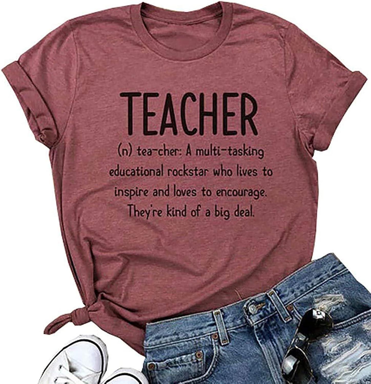Teacher T Shirt Limited time sale Women's Short Tops Fashion Sleeve Blouse Letter Over item handling ☆