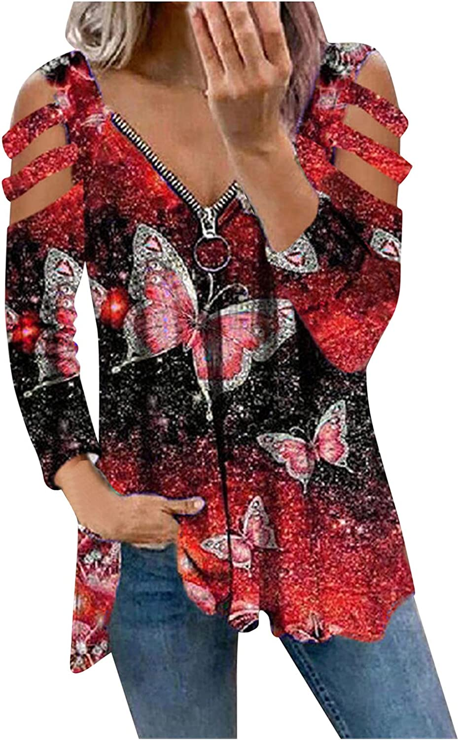 POTO Long Sleeve Shirts Sale special price for Women T Louisville-Jefferson County Mall V-Neck Zipper Shirt Printed