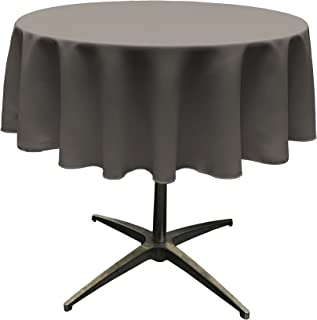 LA Linen Polyester Poplin Round Tablecloth, 51-Inches, Charcoal, 129.5 x 129.5 x 0.04 cm