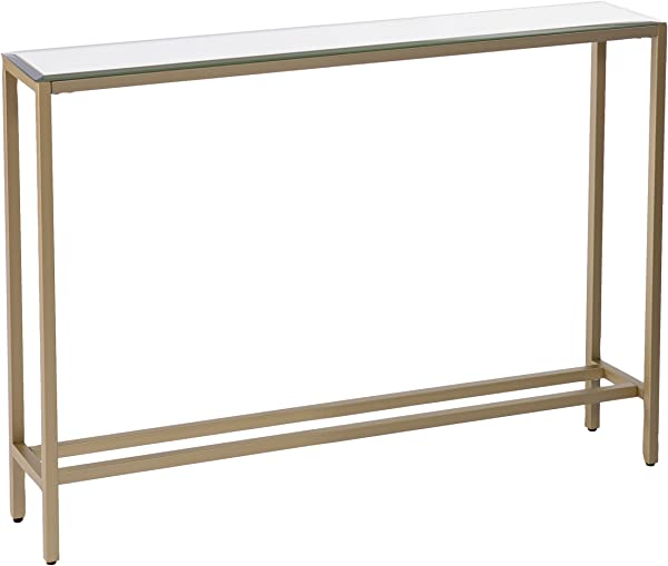 Metal Skinny Console Table Slim Profile W Mirror Top 36x29 5