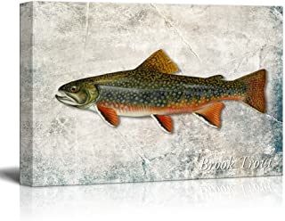 wall26 - Green Brook Trout Fish Illustration on a Textured Background - Canvas Art Home Decor - 16x24 inches