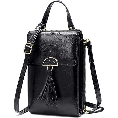 NoChoX Handtasche Damen Umhängetasche Handytasche Zum Umhängen Geldbörse Portemonnaie mit Vielen Fächern Kartenfach - Verstellbare Schultergurte (2 Black)