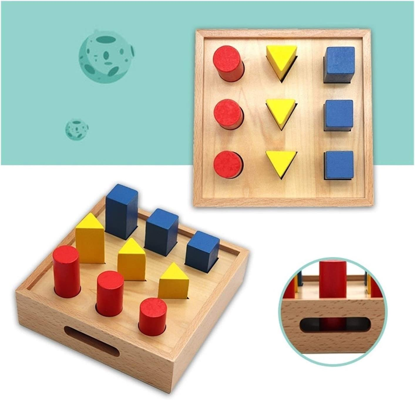 LEXING Houten puzzel geheugen puzzel (Color : Geometric Plate) Multiply And Divide