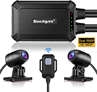 Blueskysea B1M Motorcycle Drive Recorder No Screen Safe Driving 135°Wide Angle IP67 Waterproof, Front and Rear Motor Dash Cam 1080P, GPS Optional,Support Max 128GB G-Sensor WDR Loop Recording WiFi