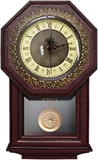 Giftgarden Silent Wall Clock with Pendulum Antique Retro Non Ticking Quartz Movement Clocks, Classical Decor for Bedroom, Living Room, Kitchen. Indoor Wall Decoration