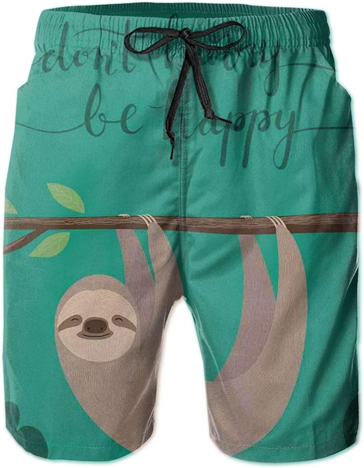 Illustration of A Lazy Sloth Hanging On A Tree with Do Not Hurry Be Happy Text Mens Swim Trucks Shorts with Mesh Lining,XL