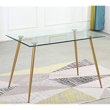 SHEEPPING Table à Manger, Table de Cuisine Moderne Table Verre à Manger et Pieds en Métal, 120x120x75cm