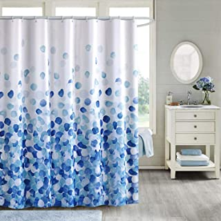 VIS'V Shower Curtain, Waterproof Fabric Shower Curtain Washable 72 x 72 Inch with 12 C Shaped Shower Curtain Hooks for Bathroom - Blue Bubble