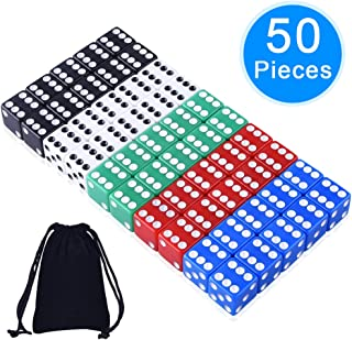 AUSTOR 50 Pieces Game Dice Set 5 Colors Square Corner Dice with a Free Storage Bag