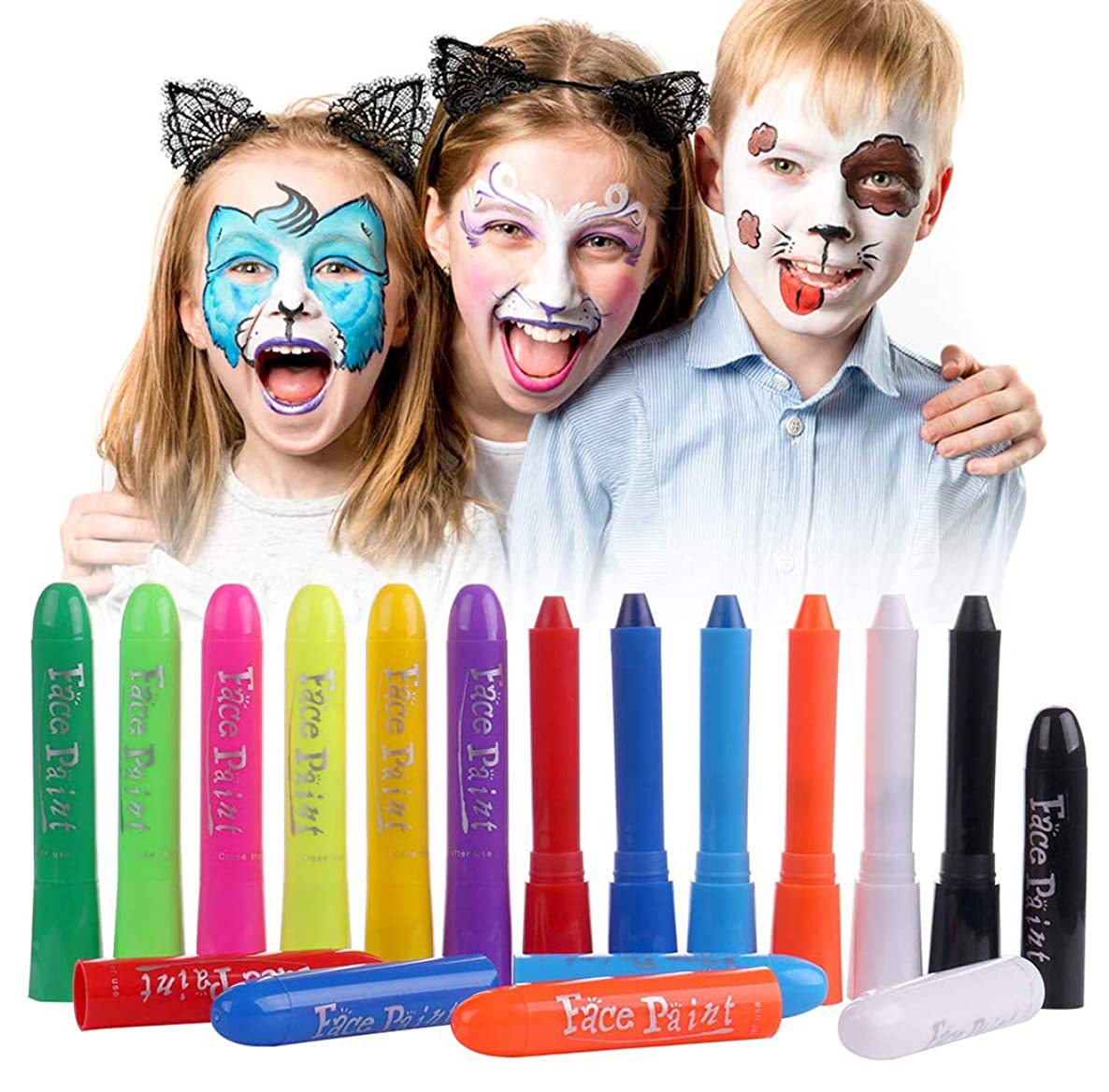 Luxbon Face Paint Crayons Face Painting Kits 12 Colors Kids Face Painting Body Paint Kids Makeup Washable Face Paint for Kids Safe & Non-Toxic Face and Body Crayons for Party Makeup